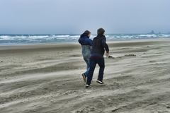 Two young men on a windy beach. Two brothers brave the windy cold wet weather at Cannon Beach on the Oregon Coast royalty free stock images