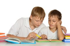 Two Brothers Doing Homework Stock Photography