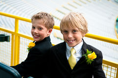 Two brothers dressed in a suit. Royalty Free Stock Photo