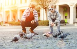Two brothers feed a doves on the old city square Stock Image