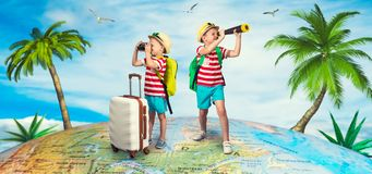 Two brothers are going on a trip. stock photo
