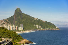 Two Brothers Hill. View of Two Brothers hill, the viaduct Joa and Sao Conrrado beach Royalty Free Stock Images
