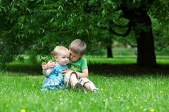 Two brothers hug in summer Stock Image