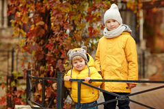 Two brothers hug in yellow jackets autumn.  stock image