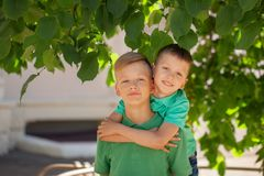 Two brothers hugging in summer day. Brotherhood friendship concept.  royalty free stock photography