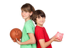 Two brothers with money-box Stock Photos