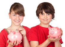 Two brothers with money-box Stock Images