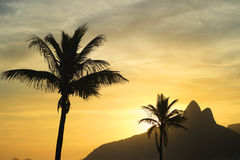 Two Brothers Mountain Sunset Rio de Janeiro Ipanema Beach Brazil Stock Image