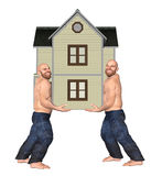 Two Brothers Mover Moving House Home Illustration. Two bald brothers barefooted moving a house Stock Photo