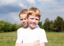 Two Brothers Outdoors Royalty Free Stock Photos