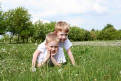 Two Brothers Outdoors Royalty Free Stock Photo