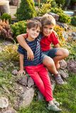 Two brothers outdoors. Two brothers are sitting and hugging outdoors Royalty Free Stock Photography