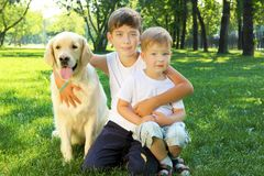 Two brothers in the park with a dog Stock Images