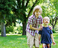Two brothers at park Stock Photo