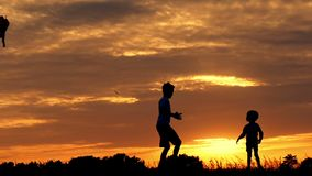 Two brothers play with a kite against the sunset. Silhouettes of playing children stock footage