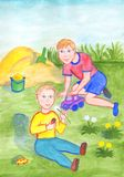The two brothers are playing in the garden. Children in the hands of toy cars. Watercolor illustration royalty free illustration