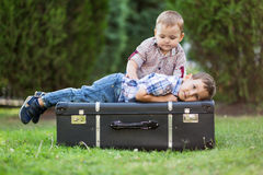 Two brothers playing outdoors Stock Photography