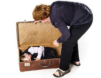 Two brothers playing with retro suitcase Royalty Free Stock Image