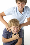 Two Brothers Playing Together Royalty Free Stock Images