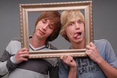 Two brothers, portraits, Royalty Free Stock Photography