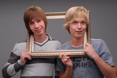 Two brothers, portraits, Stock Photo
