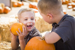Two Brothers at the Pumpkin Patch Talking and Having Fun Royalty Free Stock Photo