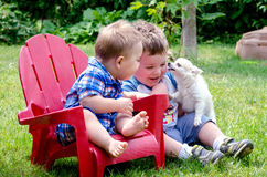 Two brothers and puppy kiss royalty free stock photography