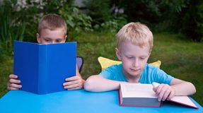 Two brothers reading books outdoors Royalty Free Stock Photos