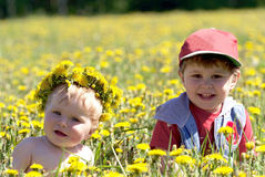 Two brothers seating in spring flowers Stock Image