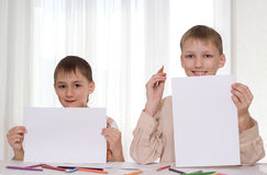 Two Brothers Show The Sheets Stock Photography