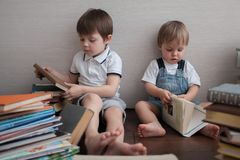 Two brothers sit and study books. stock photography
