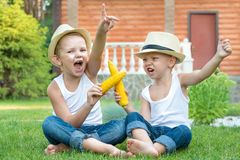 Fun games,laughter.Two brothers sitting on the grass and eat corn on the cob in the garden.Fun games,laughter. stock images