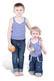 Two brothers with small balls Royalty Free Stock Photos