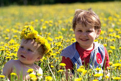 Two brothers in spring flowers. Two brothers seating in spring flowers in field of dandelions Stock Photos