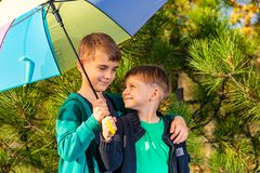 Two brothers stand in an embrace under a bright multi-colored umbrella and look at each other in a pine forest royalty free stock image