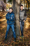 Two brothers standing near the tree Royalty Free Stock Image