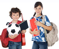 Two brothers students. A over white background Stock Photo