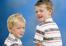 Two Brothers Turning Back Royalty Free Stock Photos