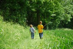 Two Brothers Walk Royalty Free Stock Image