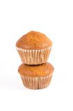 Two brown banana muffin in paper cupcake holder i Royalty Free Stock Photo