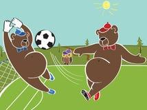 Two Brown Bears Plays Football.Cartoon Humorous Illustrat Stock Images