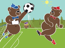 Two brown bears plays football.Cartoon  humorous illustrat Royalty Free Stock Image