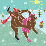 Two brown bears skaters skated. Illustration. Two brown bear are skating in pairs on the nature. Winter landscape. Humorous illustration.Olympic games. Winter Stock Photos