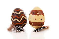 Two brown decorated easter eggs Royalty Free Stock Photo