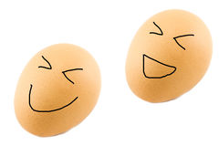 Two brown egg with happy face Stock Photography