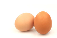 Two brown eggs. On a white background Royalty Free Stock Photography