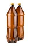 Two brown empty plastic bottles Stock Photos