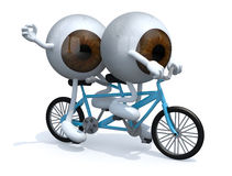 Two brown eyeballs riding tandem Royalty Free Stock Photo