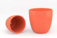 Two brown ceramics flowerpot Stock Image