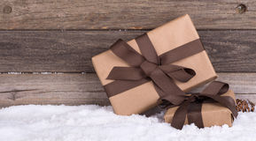 Two Brown Gift Packages Royalty Free Stock Photography